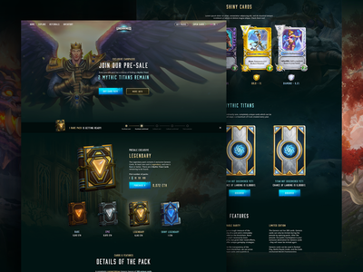 Gods Unchained - Purchase Page game design ui ux app dark design webdesign landing page website game gaming blockchain game ethereum illustration gods unchained