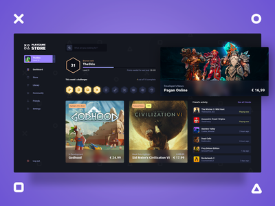Playgame Store - Dashboard ui ux design app dark concept webdesign landing page dashboard game gaming store game store platform achievements store design friends hub game hub store app
