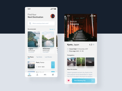Trip Finder - UI Snippet booking kyoto destination trip travel app travel agency traveling travel brigh white concept app design ux ui
