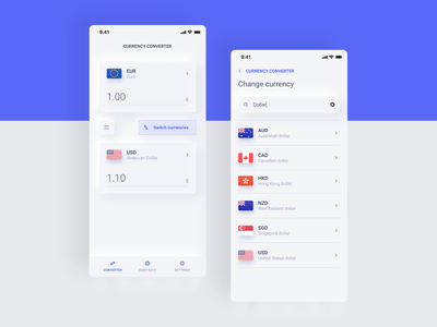 Lavandoz - Currency Converter - Classic mode bright mode clean neumorphism neumorphic dollar rate exchange rate currency exchange currency converter currency app design ux ui
