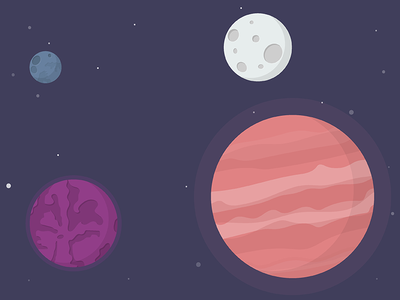 Flat Planets planet space moon flat design