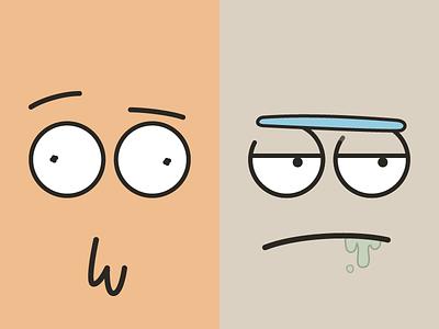 Rick and Morty face morty rick rick and morty flat simple minimalistic illustration