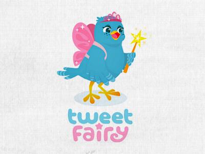 Tweet Fairy Logo illustration bird character fairy cute girly logo