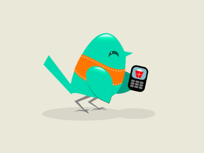 Text Gift Bird icon character vector illustration