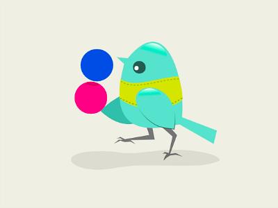 Flickr Bird character icon illustration bird flickr