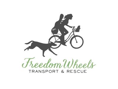Freedom Wheels animal rescue pets logo silhouettes dog bike