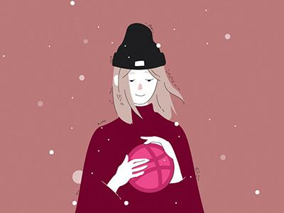 winter dribbble vector illustration