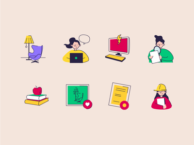 Icons set for a 3D-school icons illustration