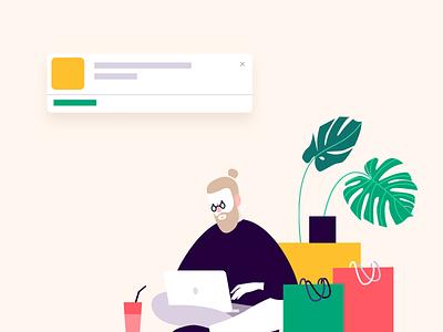 Push notifications flat vector illustration