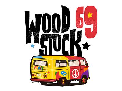 Woodstock  69 rock and roll illustration colors van love peace hippie festival music rock