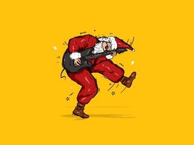 Rock and roll x-mas! Part 2 drawing colors illustration guitar music roll rock christmas claus santa