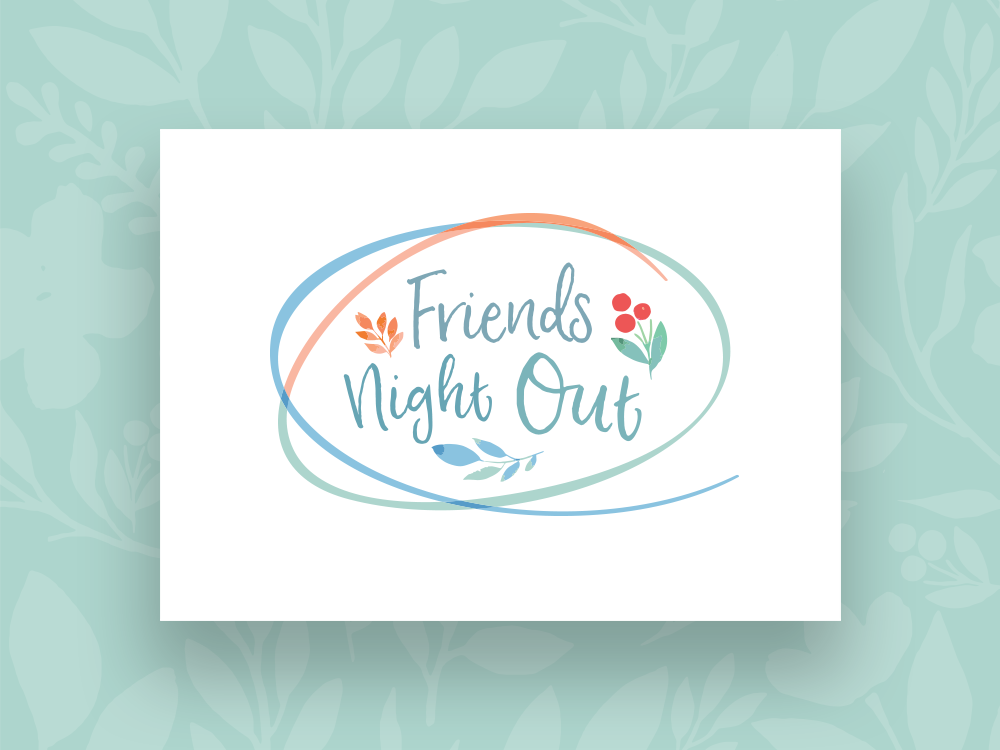 Friends Night Out Event Graphic typography vector adobe illustrator