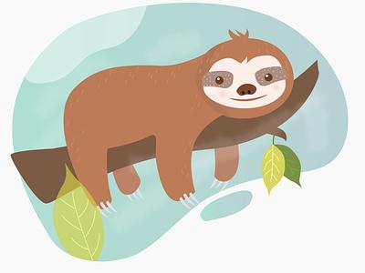 Sloth Illustration nature art lazy sleep tree illustration leaves logo leaf logo design good morning illustraion illustrations illustration art illustrator sloth illustration sloth branding illustration digitalart imagine creativeart photoshop