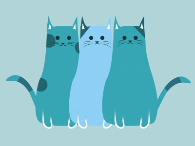 Cute Blue Cats sticker design cat illustration simple sketch cute kawaii blue cats cat sticker logo illustration digitalart design photoshop