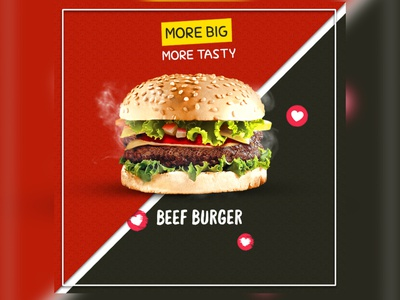 Beef Burger photoshopartwork social beef burger advertise advertisement digitalart design photoshop posts socialmedia imagine creativeart