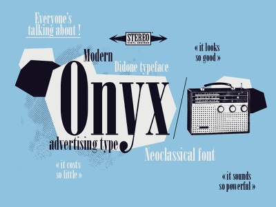 Onyx - decorative and advertising type fifties music illustration french neoclassical modern typeface font didone