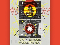 Gig poster for K-X-P + Monolithe Noir + Drame