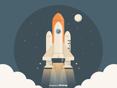To the moon ... space night vector art vector vecteezy spaceship moon