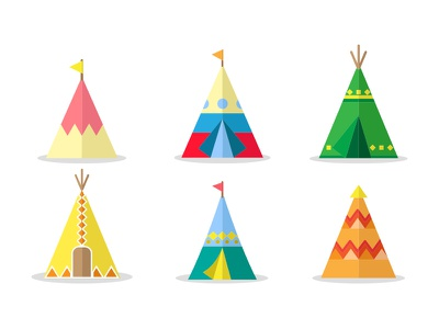 Tipi House Set traditional tradition tribal indian icons house teepee tipi