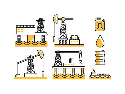 Oil Field Icons barrel platform gas energy drilling refinery pipeline petroleum field oil rig