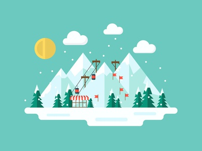 Winter Illustration clouds cable car snowing resort cold snow mountain ski winter