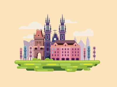 Prague capital tower gothic europe czech city castle architecture buildings prague