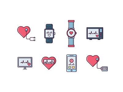 Cardiology Icons heart monitor health pulse medicine medical heartbeat cardiogram cardiology electrocardiogram ekg cardiac