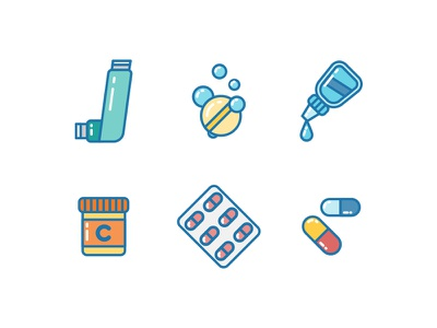 Medicine Icons painkiller pharmaceutical vitamin healthcare health inhaler s pill drug medicine asthma