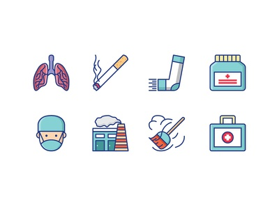 Health Icons icon dust allergy polution cigarette smoke lungs medical disease medicine asthma health