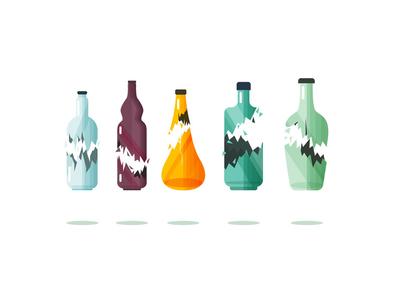 Broken Bottles wine beverage alkohol junk waste recycling shattered glass broken bottles bottle