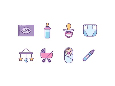 Baby Icons fetus diapers motherhood pregnant newborn pregnancy mother stroller toys toddler maternity baby