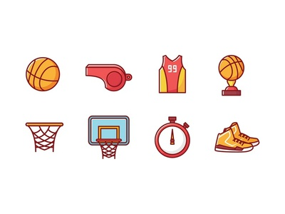 Basketball icons championship champion winner trophy whistle shoes basket basketball