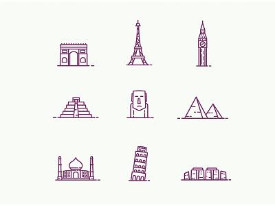 Landmarks tourism tourist landmark pisa taj mahal stonehenge pyramid tower eiffel temple