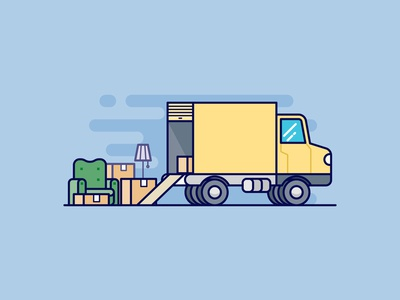 Moving Van furniture package courier shipping cargo transportation delivery truck van moving box cardboard