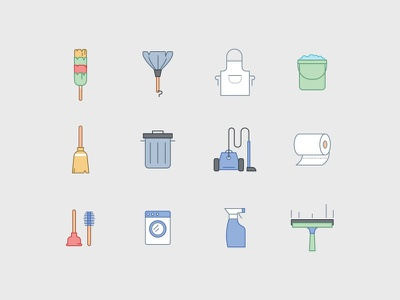 Cleaning Icons brush wipe clean cleaning cleaner vacuum bin trash bucket