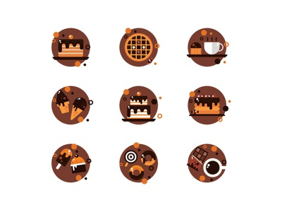 Sweets Icons dessert sweets donuts candy cake cupcake chocolate
