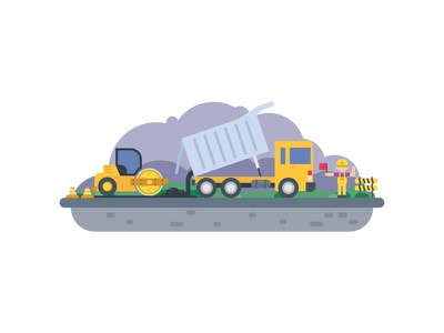 Road Construction roadwork concrete street highway loader tractor asphalt machine truck construction road roller
