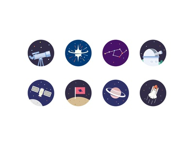 Outer Space Icons saturn orbit planet moon spaceship observatory star space rocket satellite supernova telescope