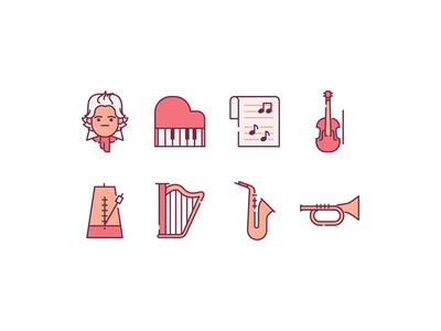 Classical Music Icons music orchestra trumpet piano instrument classical violin jazz concert beethoven saxophone composer