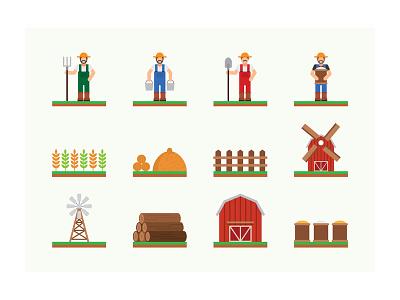Farming Icons village country wheat farm farmer barn agriculture farming
