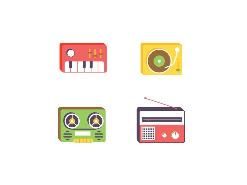 Music Equipment icons keyboard radio music