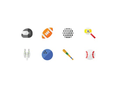 Sport Icons ball bowling baseball golf football rugby tennis