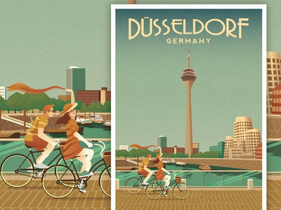 d sseldorf travel poster by nasir udin dribbble. Black Bedroom Furniture Sets. Home Design Ideas