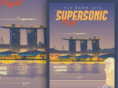 Supersonic Flight - SF to Singapore Travel Poster illustration merlion marina bay airplane supersonic vintage travel poster poster travel san fransisco singapore