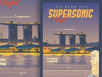 Supersonic Flight - SF to Singapore Travel Poster