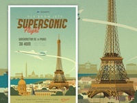 Supersonic Flight - DC to Paris Travel Poster