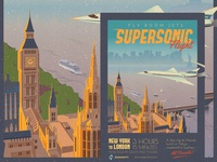 Supersonic Flight - NY to London Travel Poster