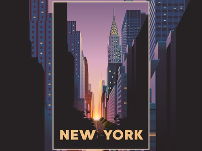 New York City Poster skyline skyscraper chrysler building vector poster illustration landscape landmarks manhattan lights city new york