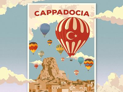 Cappadocia - Turkey Travel Poster illustration holiday card card fun flying holiday summer print vintage travel poster posters travel hot air balloon turkey cappadocia