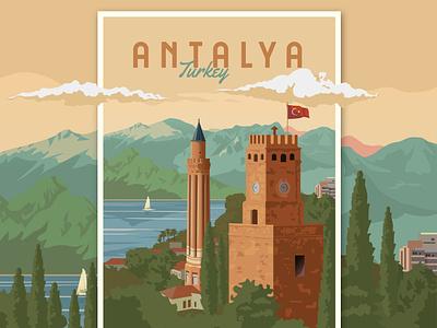 Antalya - Turkey Travel Poster landscape home decor europe antalya turkey posters print classic travel poster travel illustration vintage